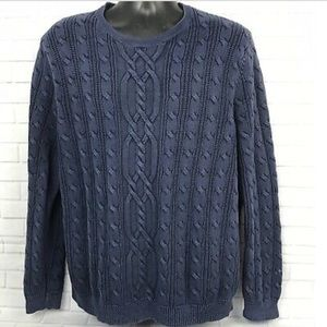 *TOMMY BAHAMA* blue cable knit crewneck sweater